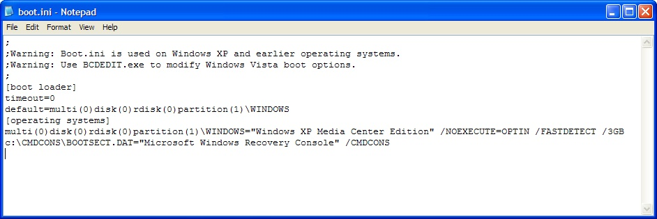 Windows 7 где находится boot.ini